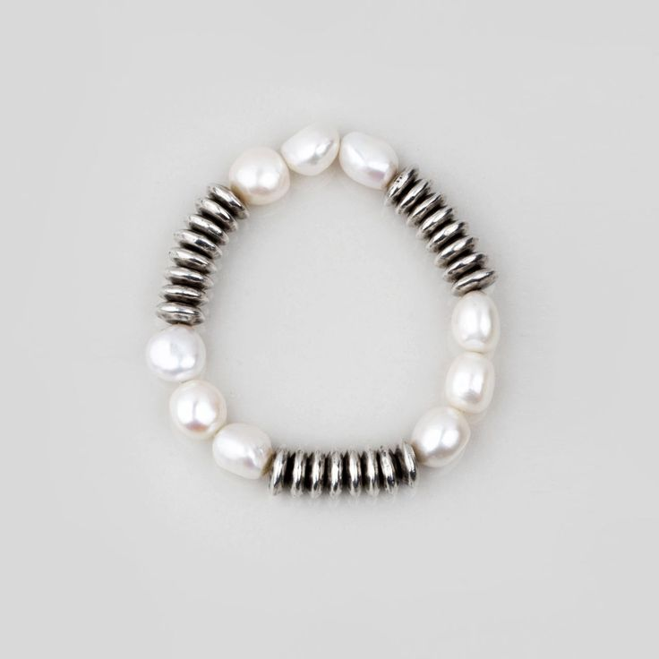 #miglio Luxe Bracelet - Burnished silver plated bead and lustrous white freshwater pearl stretch bracelet B1278