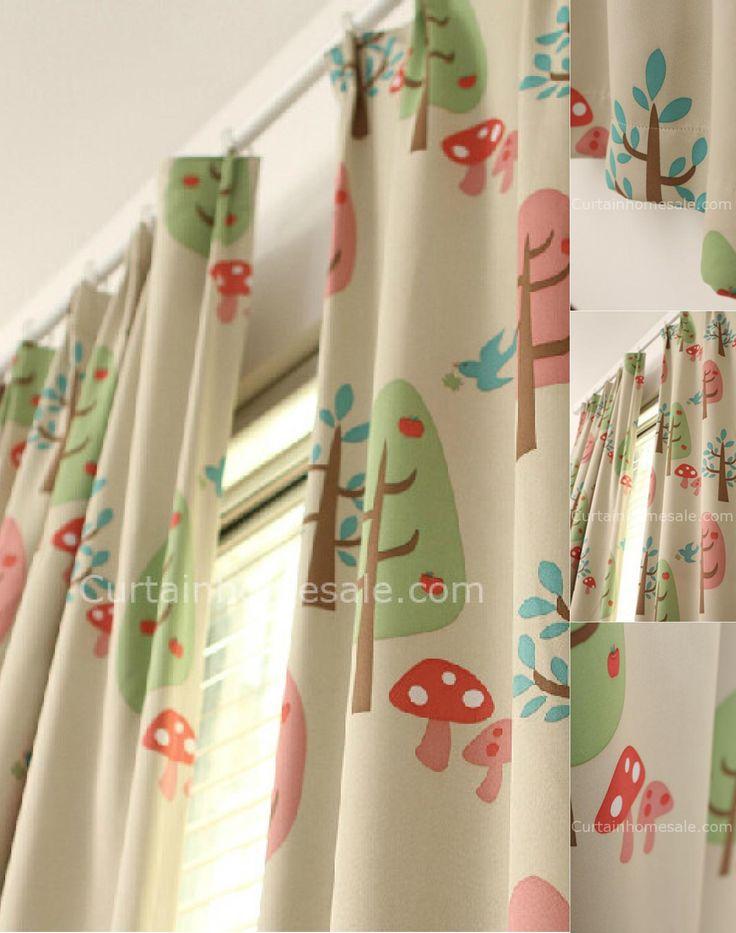 Elegant Netteste Blackout Kinder B ume und Pilze Printed Plissee Vorh nge