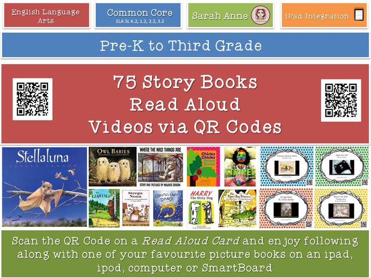 75 Read Aloud Picture book video cards for your reading corner. Boost your classroom library with 75 popular books to read on the ipad, ipod or active board. Scan (or click) the cards and enjoy a popular children's books on YouTube. Children from Pre-K- 5th grade will enjoy these wonderful stories. #read #aloud #QR #code #technology #picture #books #ipad #classroom #tpt #sarahanne