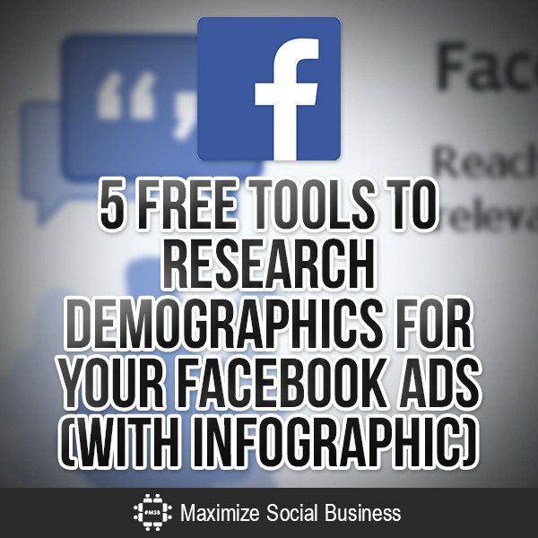 Facebook Ads allow you to target your demographic for more effective conversion. Use these 5 free tools to help you research your target customer. With infographic.