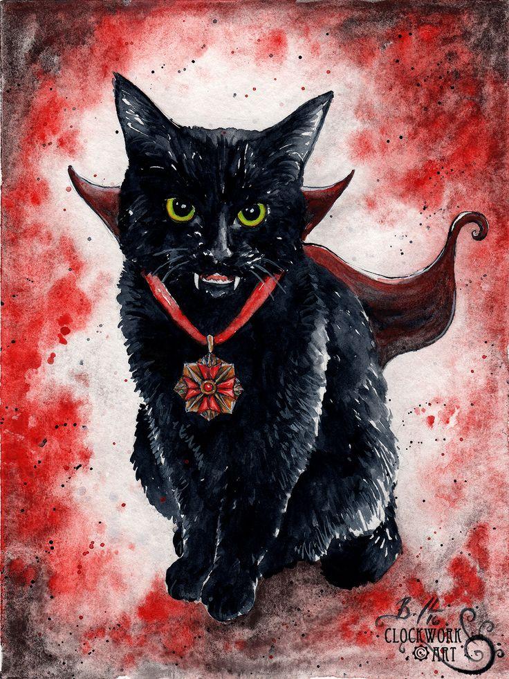 """Vampire Kitten"" - fine art print from my Pop Culture Kittens watercolour series  Braden Duncan www.clockworkart.com"