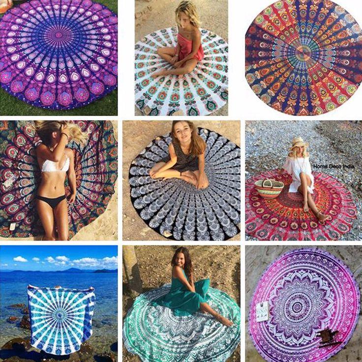 Wholesale microfiber blanket textile logo custom printed summer travel picnic tassel cotton round beach towels