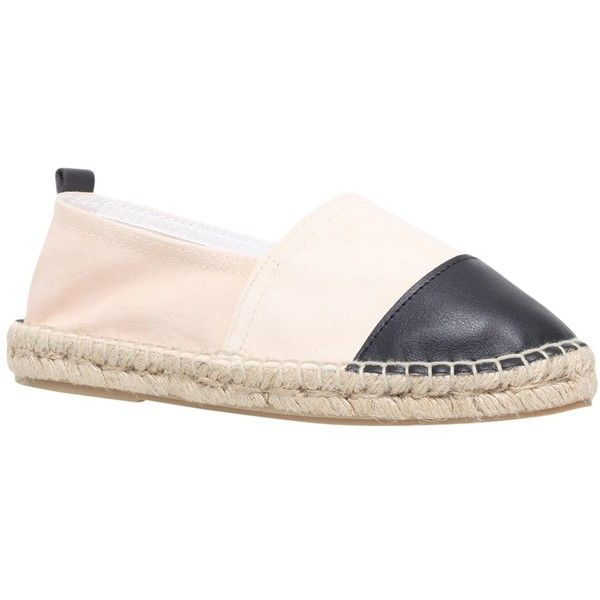 Carvela Scarlett Flat Espadrilles, White/Black ($61) ❤ liked on Polyvore featuring shoes, sandals, black white shoes, round toe shoes, espadrille sandals, round cap and espadrilles shoes