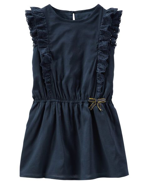 Classic navy, eyelet ruffles and a gold-trimmed bow make this one perfect for her first day of school.