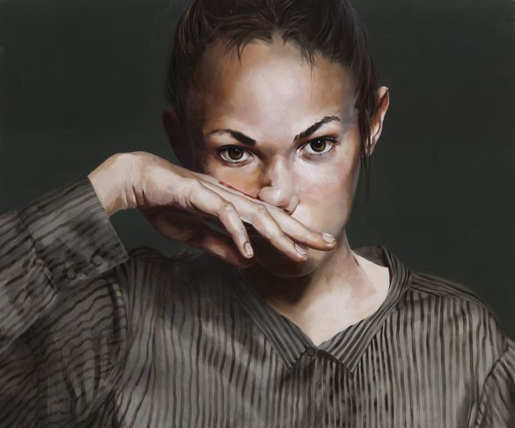 Markus Åkesson - Girl with a Nosebleed, 100×120, Oil on canvas, 2016