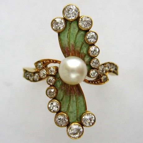 Art Nouveau Enamel, Pearl and Diamond Ring / circa 1890. @designerwallace
