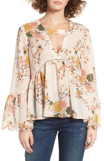 Romantic floral top with scalloped bell sleeves. Women's Sun & Shadow Floral Print Bell Sleeve Blouse