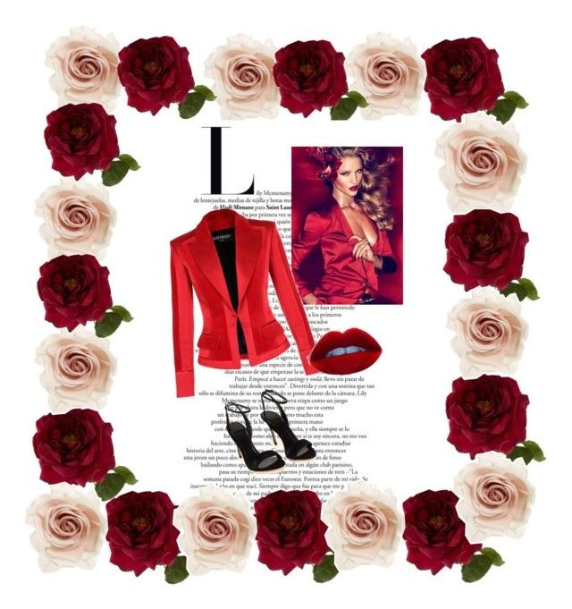 """ALL RED"" by enirst ❤ liked on Polyvore featuring Sia, Cara and Balmain"