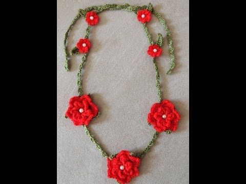 Para una ocasion especial o como regalo, un lindo Collar de Flores en Crochet. Parte 1 de 2.