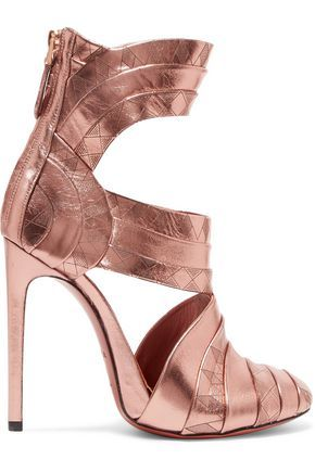 "Alaïa ""Printed metallic leather sandals"" printed-rose-gold-metallic-leather round-toe cut-out high-collar back-zipper very-high-stiletto-heeled caged sandal"