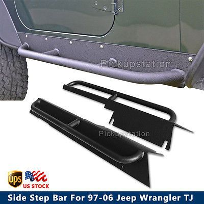 For 97-06 Jeep Wrangler TJ Rock Crawler Side Step Nerf Bars Running Board Black
