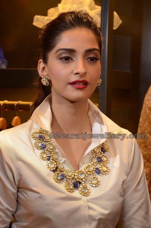 Sonam Kapoor Polki Sapphire Necklace