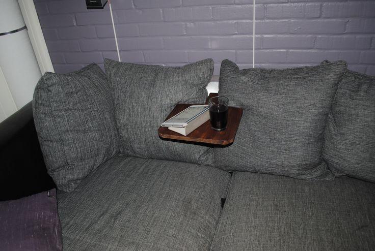 Table for my coach. Sofabord. Fikk laget støtten til ryggen i aluminium.