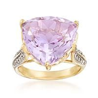 """10.00 Carat Pink Amethyst and .20 ct. t.w. White Topaz Ring in 14kt Gold Over Sterling. Size 5"" #Jewelry #ClearanceJewelry #DiscountJewelry"