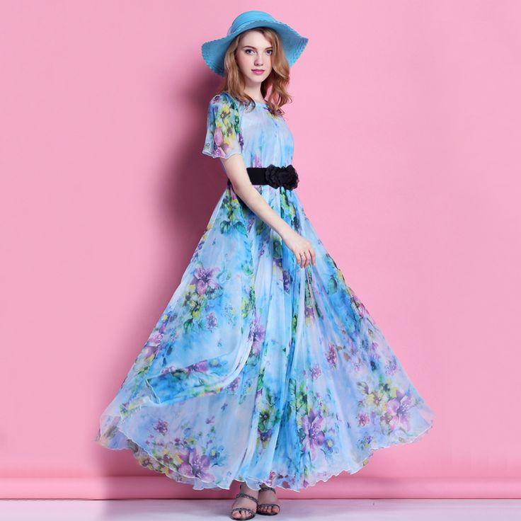 2015 biru bunga sifon lengan pendek pantai gaun pengiring pengantin, Liburan Maxi Dress panjang, Plus ukuran ringan Sundress(China (Mainland))
