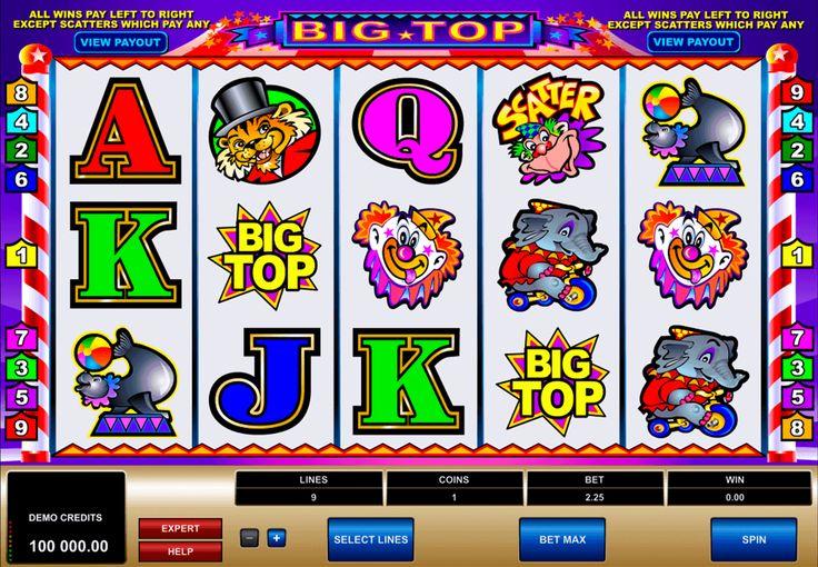 Kirkas ja mielеnkiintoinen #Microgaming kolikkopeli Big Top tavata sinut sirkuksen fanfareilla ja ehdottaa pelata 5 rullaa hedelmäpeliä missä on 9 voitto linjoja ja hauskat symbolit jotka nostavat mielentilaa.