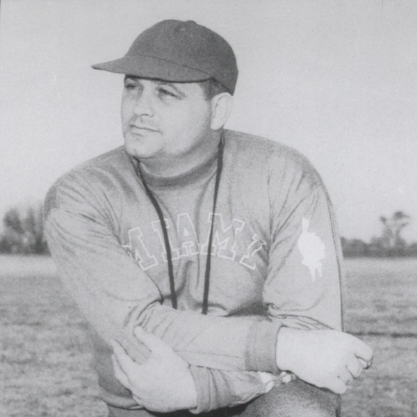 "This 1949 photograph of Woodrow ""Woody"" Hayes was published in Miami University's Football Media Guide. Hayes coached at Miami University in Oxford, Ohio from 1949 to 1950."