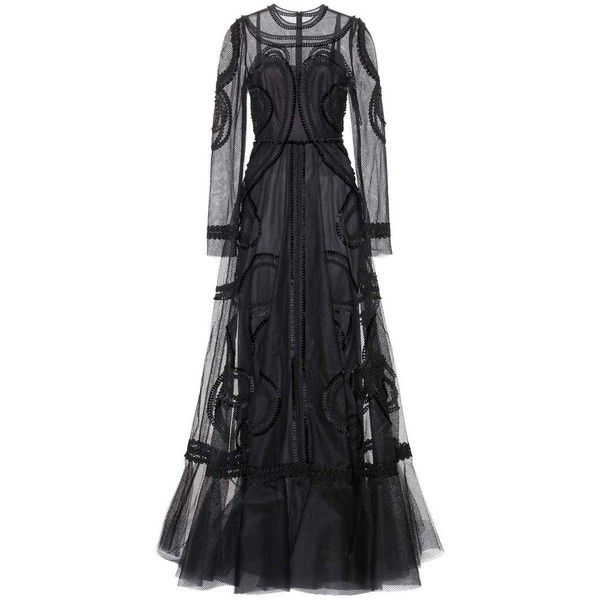 Dolce & Gabbana Embellished Floor-Length Gown found on Polyvore featuring dresses, gowns, dolce & gabbana, long dress, black, cocktail/gowns, evening gowns, holiday dresses, evening dresses and evening cocktail dresses