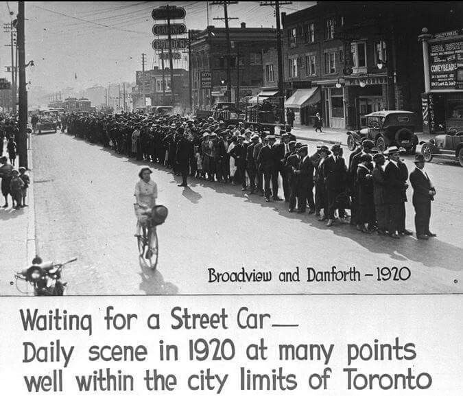 Broadview and Danforth 1920. Waiting for a streetcar. TTC. Library and Archives Canada