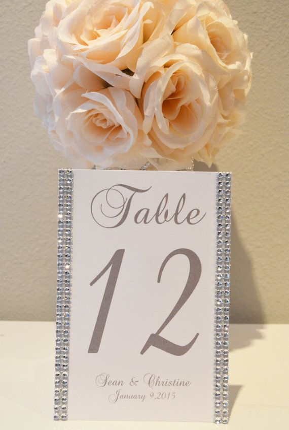 Bling Collection * Personalized wedding rhinestone table numbers. PICK YOUR COLOR rhinestone and text