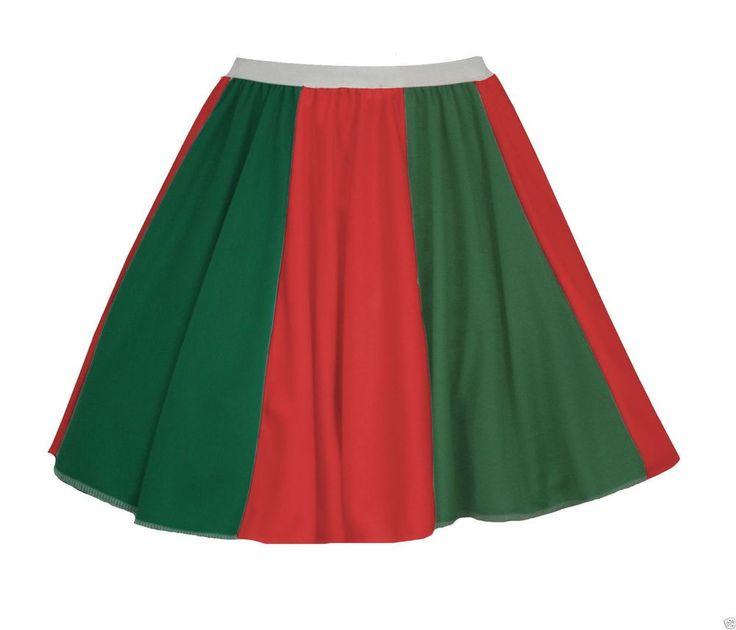 Ladies Portugal Flag 15 Skater Panel Skirt Portuguese Fancy Dress