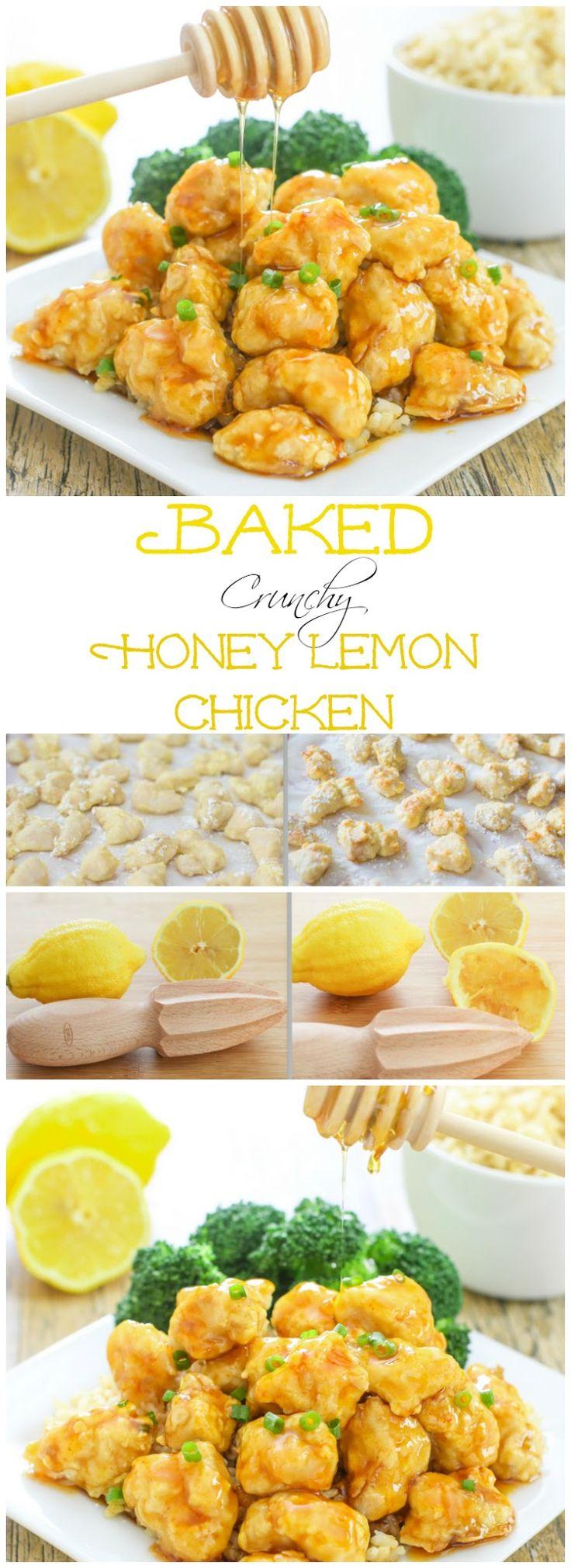 Baked Crunchy Honey Lemon Chicken. No breadcrumbs and gluten-free!