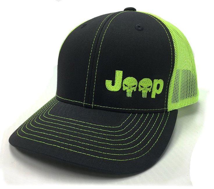 Jeep Logo With Punisher Skull Symbol Left Panel Embroidered Mesh/Twill Cap  #KonaTees