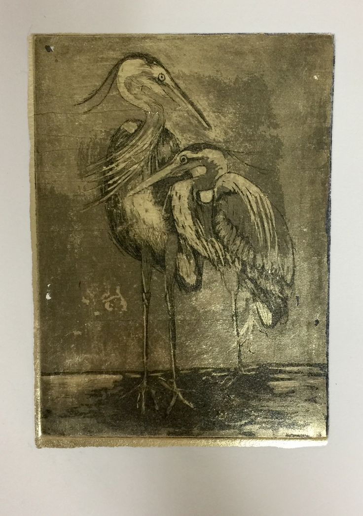 Copper plate hard ground etching with aquatint. Intaglio printing on gold leaf.