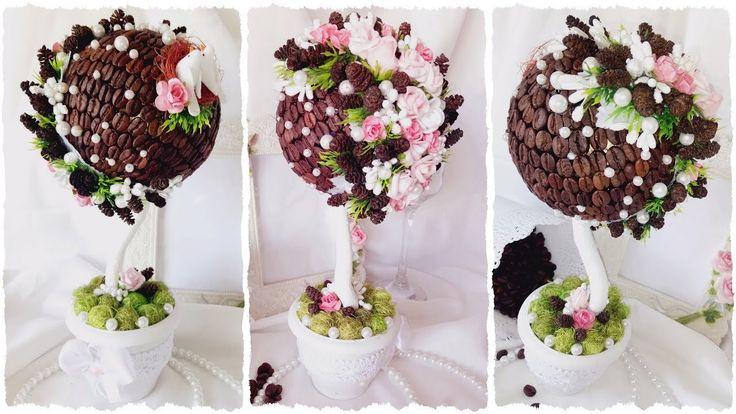 Видео мастер-класс топиарий из кофе и шишек ольхи с фоамирановыми розами и сизалем от Алены Тихоновой | coffee topiary tree with flower - video master class. #топиариитихонова #handmade #decor #рукоделие #топиарий