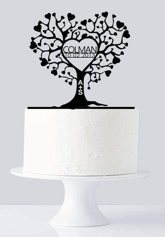 Unique Wedding Cake Topper - Gold Love Tree Cake Topper - Very Unique Custom Last Name & Date A774