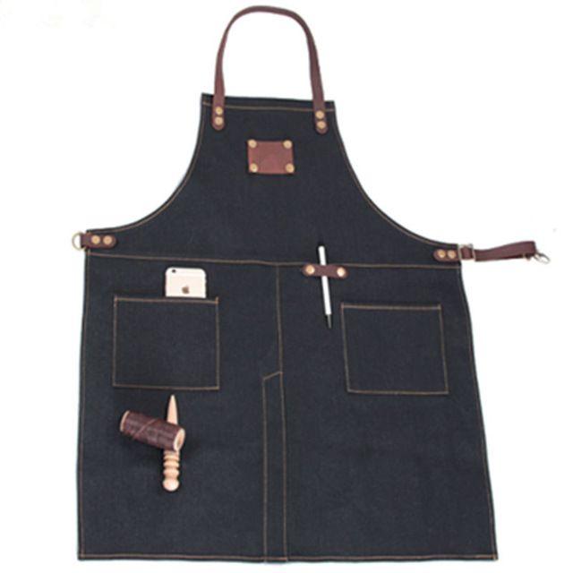 Unisex Black/Blue Denim Bib Apron w/ Leather Straps Barber Barista Florist Cafe Bar Chef Uniform Bistro Craft-men Workwear K20