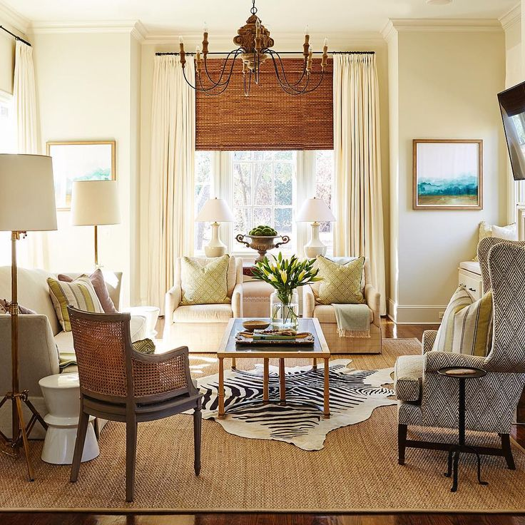 Simple, refined & a bit eclectic. Love the zebra rug! Not overly decorated - it's just right!