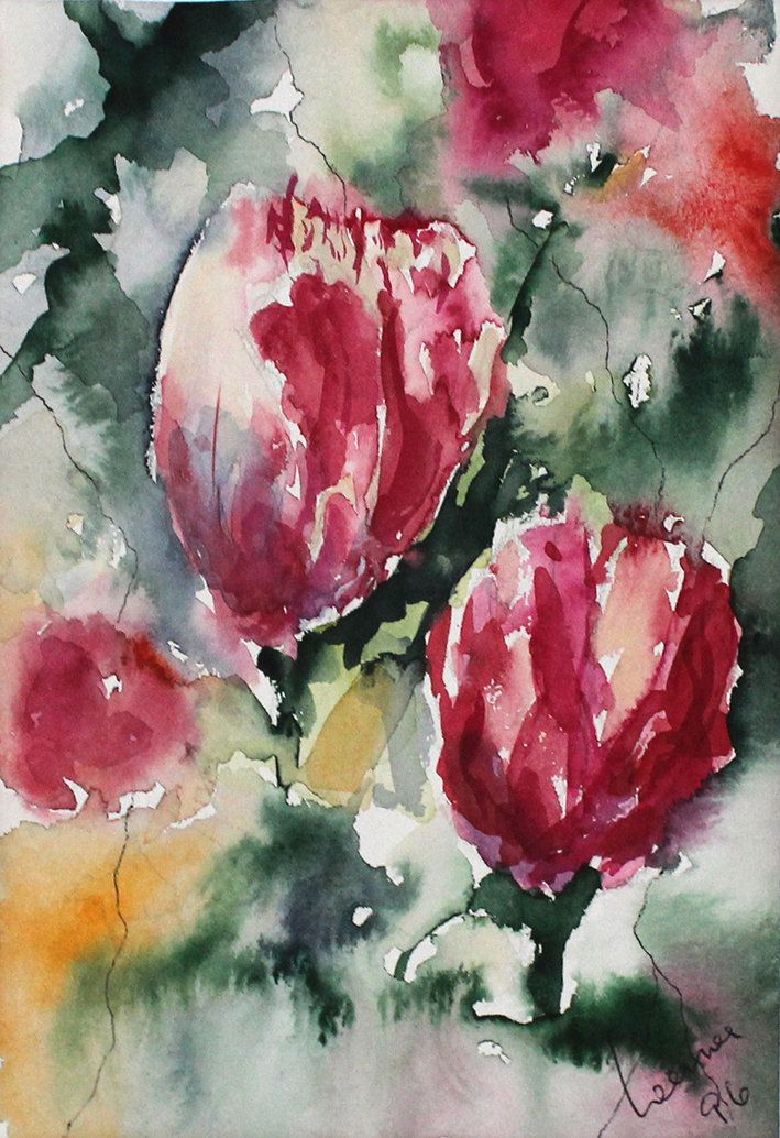 Watercolour Tulips Original Bouquet Painting Picture Realism