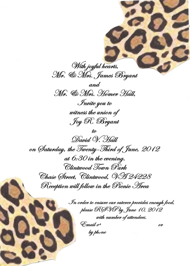 Wedding invitations in cheetah and zebra print. We made them using light brown cardstock. We put red ribbon on the left and zebra print ribbon on the top and then added a jewel to the top left corner. The were unique and gorgeous!
