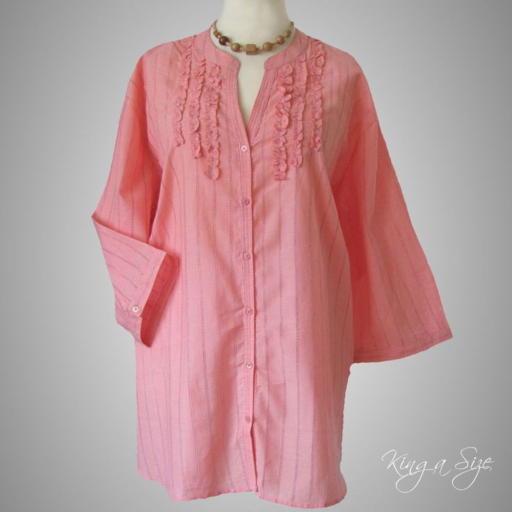 Long Tunika / Bluse / Blusenjacke / Hemdbluse & Rüschen - 100% Cotton Gr.56