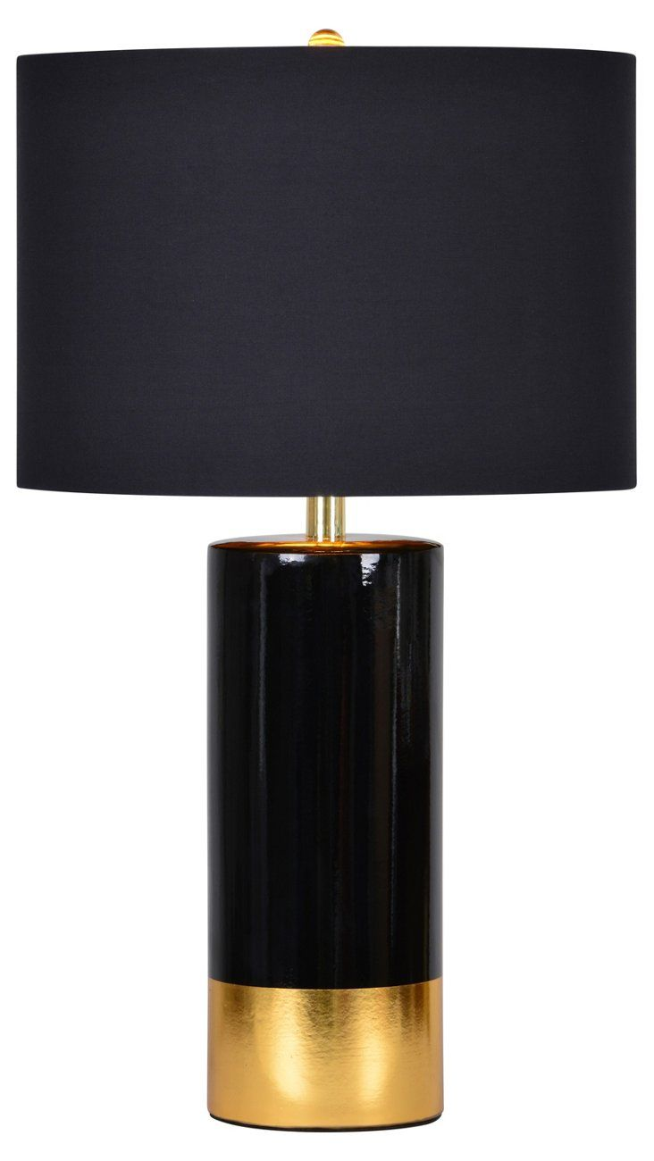 164 best house images on pinterest black lamps home and side tables this table lamp has a crisp black and luscious gold ceramic base as well as a solid black cotton shade with gold interior lining making it glamorous and geotapseo Gallery