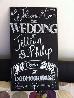 My DIY Chalkboard Welcome Sign « Weddingbee Boards