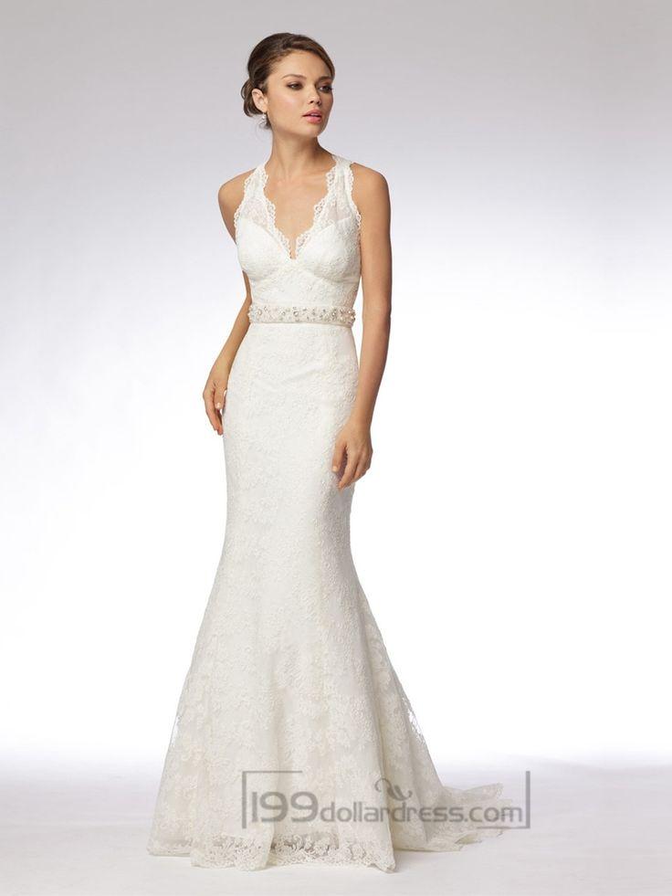Trumpet Embroidered Lace Halter V-neck Wedding Dresses with Keyhole Back