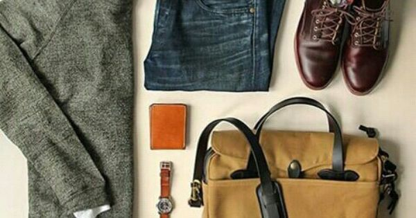 Liked on Pinterest: Outfit grid - Ready for the day ahead // Mens Style and Fashion Dressy Casual Layers Grey Sweater with White Button Down Collared Shirt Denim Blue Jean and Brown Dress Shoes #mensoutfitsdressy #dressyoutfits