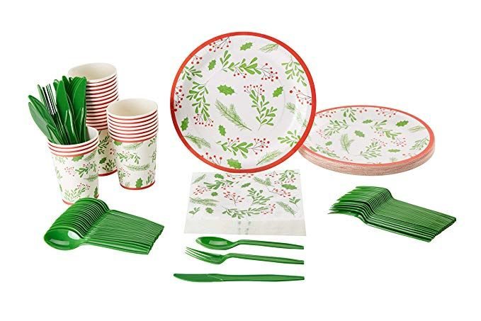 Christmas Disposable Dinnerware Set Serves 24 Festive Holiday Party Supplies Holly Berry And Holiday Party Supplies Festive Holiday Party Holiday Festival