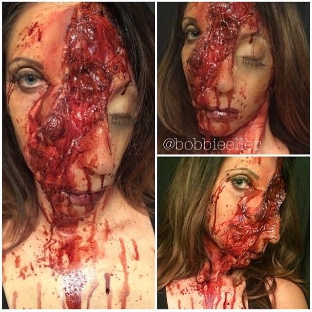 Incredible torn face special effects makeup, it looks like half of her head is falling off :O