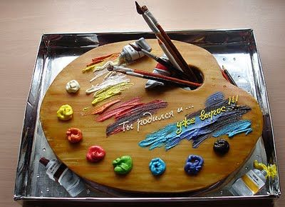 Fantastic artist's palette cake. Looks amazing! Wonder how they got the paint to look glittery