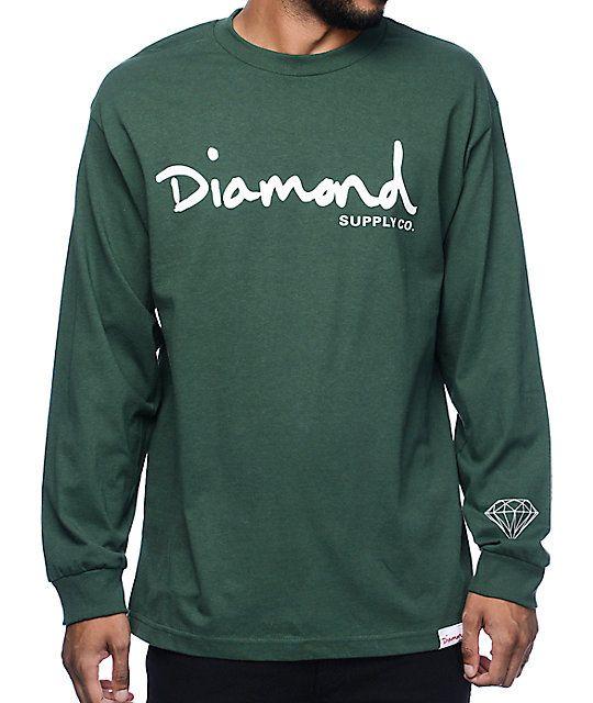 Diamond Supply Co OG Script Green Long Sleeve T-Shirt