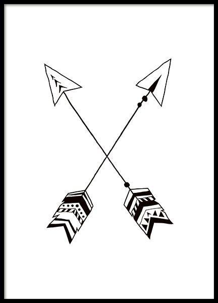 Mooie poster met zwart-witte indianen pijlen. Deze poster is perfect voor alle kinderkamers en is mooi om te matchen met onze andere kindermotieven in dezelfde stijl. www.desenio.nl