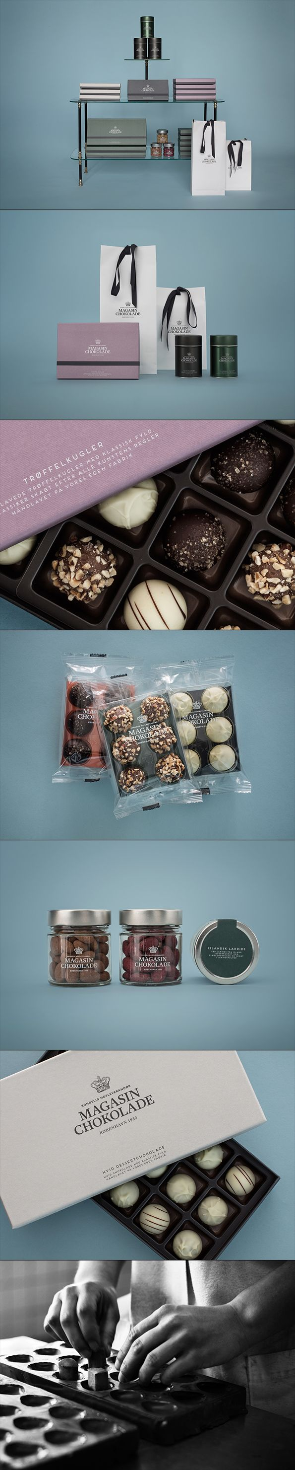 Beautiful #chocolate #redesign Magasinchokolade #identity love the textured boxes and simplicty in styling