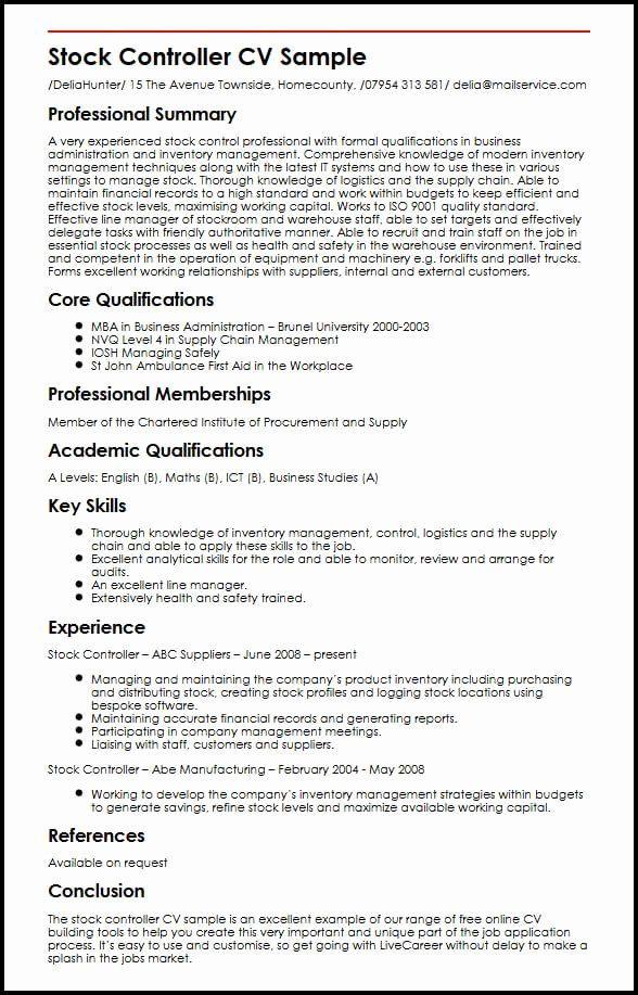 Quality Controller Resume Sample New Stock Controller Cv Example Myperfectcv Resume Cv Template Uk Teacher Resume Examples
