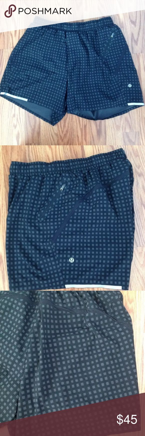 "Selling this Lululemon Medium Surge Shorts 5"" Black & Gray on Poshmark! My username is: wrd14. #shopmycloset #poshmark #fashion #shopping #style #forsale #lululemon athletica #Other"