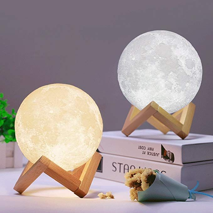 Allrise 3d Printing Led Moon Lamp Night Light Dimmable Touch Control Brightness With Usb Charging Rechargeable Luna Night Light With Wooden Stand Home Decora Moon Light Lamp Night Light Night Lamps