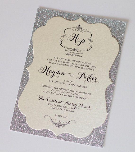 Hayden Diecut Frame Glitter Wedding Invitation by EmbellishedPaperie on Etsy, $6.00