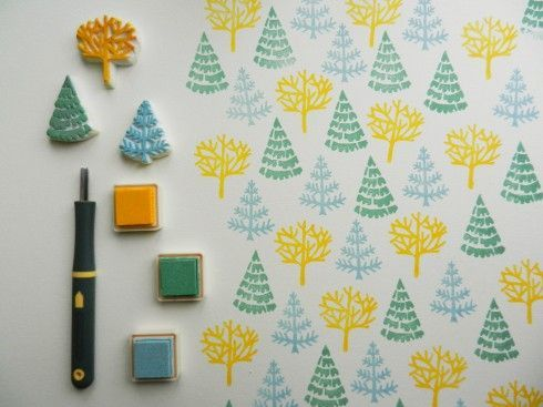 christmas trees stamps - great colours!